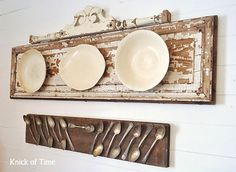 Party Junk 205 – Upcycled Old Door Projects Old door plate wall display by Knick of Time, featured on www. Funky Junk Interiors, French Country Dining Room, French Country Decorating, Country Kitchen, Kitchen Rustic, Family Kitchen, Old Plates, Plates On Wall, Antique Plates