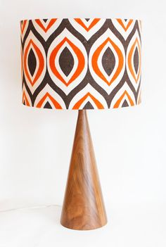 Lamp Shade - 14 Drum - Retro Modern - Orange and Brown  - Linen / Cotton Blend - Washer Top / Harp Fitting