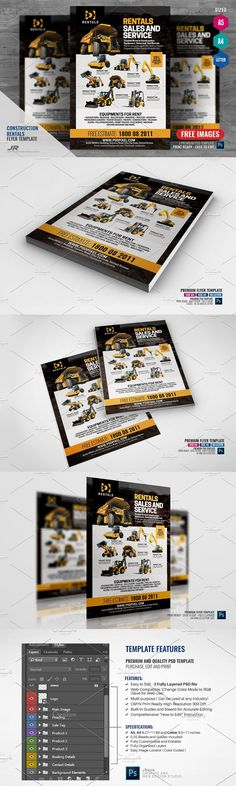 Equipment Rentals Company Flyer - Boost your company's sales and attract new customers! This Construction Rental Flyer / Equipment Rentals Company Flyer Design Template has been developed to boost your Ultimate Marketing Opportunity and solid brand/product awareness and promotion! Perfect for large and small businesses, packed with well-studied content with actual marketing copy! - SPECIFICATIONS: - 3 Sizes / A4 8.27x11.69 inches, A5 5.8x8.3 and... Equipment Rental Companies, Marketing Opportunities, Construction Design, Flyer Design Templates, Small Businesses, A5, Opportunity, Promotion, Content