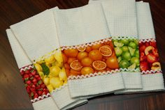 : Recent Sewing Projects sew fruit fabric and ric rac on basic towel Kitchen Dishes, Kitchen Linens, Kitchen Towels, Kitchen Stuff, Sewing Projects For Kids, Sewing Crafts, Sewing Hacks, Dish Towels, Tea Towels