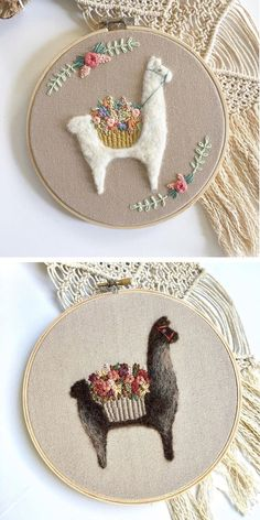 Llama and alpaca hoop art by Fuzzy and Flora #needlefelting #embroidery