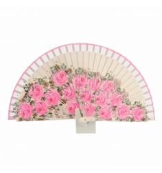 Abanico madera blanca con flores rosas - Paula Alonso - Tienda online