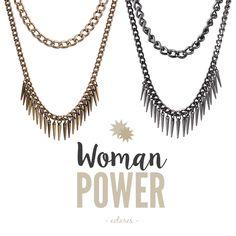 Colares duplos!  #lookrocker #rocker #moderna #colar #colarduplo #acessoriosfemininos #necklace #spikes