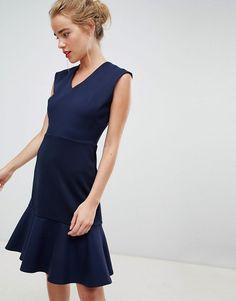 f9a443d4250 Closet London drop hem mini skater dress in navy