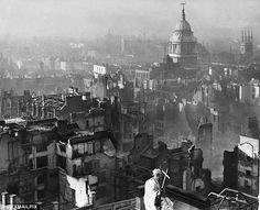 Devastation: This was the view from St Pauls on January 3, 1941, showing the destruction to the streets surrounding the Cathedral.