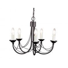 CARISBROOKE Gothic 5 light black ceiling light (dual mount)