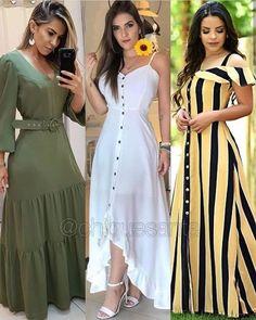 A imagem pode conter: uma ou mais pessoas e pessoas em pé Dressy Dresses, Simple Dresses, Elegant Dresses, Sexy Dresses, Summer Dresses, Chic Outfits, Fashion Outfits, Dress Skirt, Shirt Dress