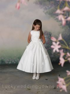 Sleeveless Satin Tea-length A-line Flower Girl Dress