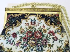 Vintage Tapestry Purse Floral Petite Point by JacobandCharlies