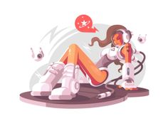 Cosmic attractive young girl illustration