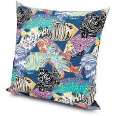Missoni Home Salalah Cushion - 160 - 60x60cm (395 CAD) ❤ liked on Polyvore featuring home, home decor, throw pillows, multi, multi color throw pillows, colorful throw pillows, fish home decor, tropical home decor и missoni home
