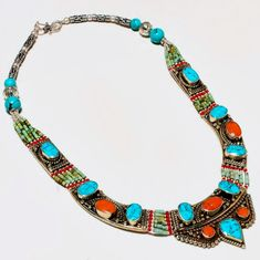 """Tibetan necklace """"Nepali"""" € - unique piece - Necklace with turquoise & coral width approx. Turquoise Gemstone, Coral Turquoise, Red Coral, Turquoise Bracelet, Seashell Necklace, Beaded Necklace, Tibet, Online Shopping, Vintage Turquoise"""