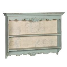 Carved french kitchen wall shelf, pale blue