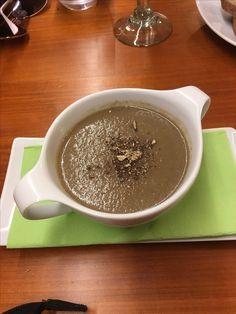 Mushroom soup with truffles, Eqvita vegan restaurant, Monte Carlo, Djokovic's place.