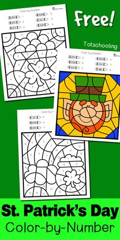 FREE St. Patrick's Day coloring worksheets to practice numbers, fine motor skills and color words. Fun preschool or kindergarten St. Patrick's Day activity where kids can color a leprechaun, pot of gold and rainbow!