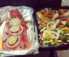 Salmon, veggies, and 38 Calorie Crust-less Apple Pumpkin Pies