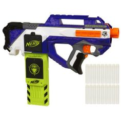 Nerf N-Strike Elite Rayven CS-18 Blaster by Nerf. $34.99. From the Manufacturer                BY HASBRO INC.  Are you ready for some serious action in the shadows? You will be with this glow-in-the-dark Rayven CS-18 blaster! The acceleration trigger on this 18-dart blaster lets you fire off your whole clip with semi-automatic speed. But the Rayven CS-18 blaster also has the Firefly Tech clip to add glow-in-the-dark power! The clip charges the included glow-in-the-dark Clip ...
