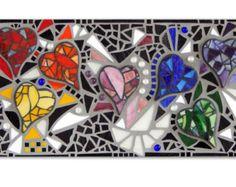 "Mosaic Art Wall Panel ""Heartsong"" 24"" x 12"" Original 3D Rainbow Stained Glass/Multimedia Hanging Mosaic Wall Art"