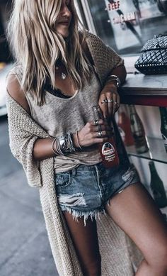#summer #outfits Grey Tank + Beige Long Cardigan + Ripped Denim Short