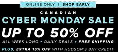 Hudsons Bay Canada Annual Cyber Monday Daily Sale: Today Save 50% Off Select Small Appliances  Extra 15%  FRE... http://www.lavahotdeals.com/ca/cheap/hudsons-bay-canada-annual-cyber-monday-daily-sale/124337