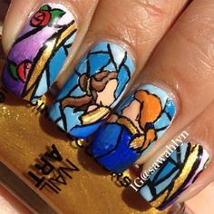 Beauty and the Beast nail art by sawahlyn