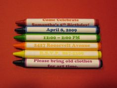 Kid's Crayon Party invitation..invitation text on crayon wrappers. Free label template from Chico and Jo