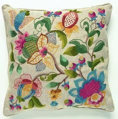 This attractive cushion design uses a variety of crewel embroidery stitches which are a joy to stitch.    Kit includes linen union fabric,