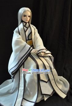 Ancient Chinese White Pure Man Costume