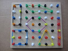 Make a geo board with thumb tacks and hair bands. Make a geo board with thumb tacks and hair bands. Motor Skills Activities, Preschool Learning Activities, Toddler Activities, Preschool Activities, Kids Learning, Handwriting Activities, Geo Board, Teaching Aids, Busy Bags