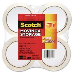 Scotch Long Lasting Moving & Storage Packaging Tape 1.88 Inches x 54.6 Yards 4 Rolls (3650-4)
