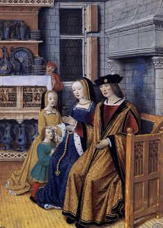 illustration of a wealthy family by Jean Bourdichon. The miniature was painted in the early sixteenth century.  According to the caption on the Web Gallery of Art:      This miniature is from a series entitled Les Quatre États de la Société (The Four Social Conditions), and probably painted to illustrate a moralizing tract. It provides a glimpse of daily life in a noble household in the early years of the sixteenth century.