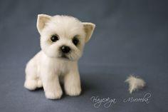 Купить Щенок - щенок, Валяние, авторская игрушка, авторская работа, фильцевание, войлок, непрядёная шерсть