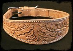 Greyhound / Lurcher / Whippet Leather Collar with Tooled Decoration Fancy Dog Collars, Diy Dog Collar, Dog Collars & Leashes, Leather Dog Collars, Leather Belts, Leather Tooling, Leather Art, Leather Design, Leather Carving