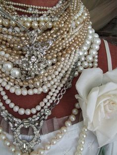 Pearls and White Rose.  Zeta Phi Beta Finery.