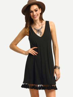 Vestido suelto con dobladillo de borlas espalda en V -negro-Spanish SheIn(Sheinside)