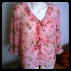 I just added this to my closet on Poshmark: Notations Sheer Pink Floral Ruffle Blouse XL. Price: $14 Size: XL