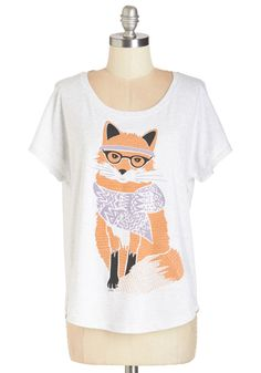 Intellectual Never Catch Me Tee. Your savvy fashion sense can outsmart anyone, as evidenced by this fox-printed tee! #white #modcloth