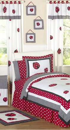 Home Decorating Style 2020 for 10 Ladybug Bedroom Ideas Most of the Awesome and Beautiful, you can see 10 Ladybug Bedroom Ideas Most of the Awesome and Beautiful and more pictures for Home Interior Designing 2020 at Santa Barbara Home. Teen Girl Bedding, Girls Bedroom, Bedroom Decor, Bedroom Ideas, Ladybug Room, Ladybug Girl, Beds For Kids Girls, Bed Covers, Bed Spreads