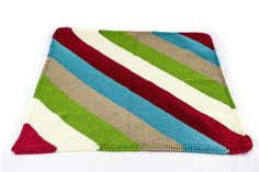 (6) Name: 'Knitting : Diagonal Stripe Baby Blanket