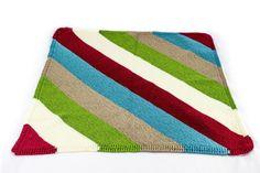 (6) Name: 'Knitting : Diagonal Stripe Baby Blanket