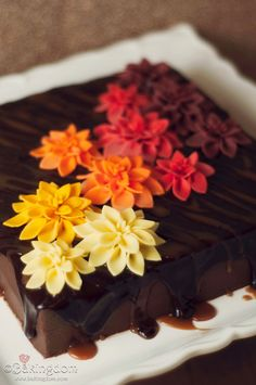 Caramel filled brownies with the most beautiful presentation I've ever seen by Darla of Bakingdom