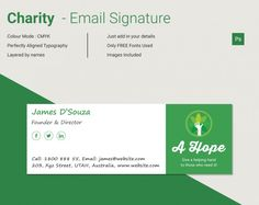 Establish a connection with the receiver of the email just by attaching the impressive eMail Signature with every thanking email you send to the charity donor. Being a member of charitable trust having an email signature is a must and our remarkable signature design will help you to create it as it will present your profile including your name, designation, contact number, active social media account, etc. in a pleasant way.