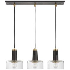 The Iris Linear Suspension Light by combines contemporary style with artful details. The clear glass shades offer diffused illumination, while the double and triple light options add a level of versatility to your interior. Linear Lighting, Cool Lighting, Modern Lighting, Lighting Stores, Industrial Lighting, Lighting Ideas, Iris, Visual Comfort, Island Lighting