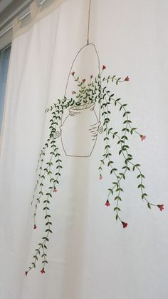 걸이분가리개커튼 : 네이버 블로그 Embroidery Flowers Pattern, Flower Patterns, Embroidery Stitches, Diy Baby Gifts, Jewish Gifts, Diy Art Projects, Fabric Painting, Diy Painting, Diy Christmas Ornaments