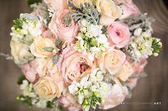 Bridal bouquet - wedding flowers - floral bouquet - peach flowers - pink flowers - dusty gray - pretty bouquets - Waldorf Photographic Art - Lisa Foster Floral Design
