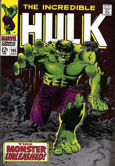 Comic Book Critic - Google+ - The Incredible Hulk #105 (Jul '68) cover by Marie Severin & Frank Giacoia