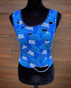 33de2a7d53731 BUD LIGHT Beer Rebel Fray Custom Distressed Women s Vintage Crop Top Shirt