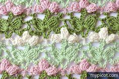 Crochet Flower Popcorn Stitch Tutorial - (mypicot) Moss ༺✿ƬⱤღ https://www.pinterest.com/teretegui/✿༻