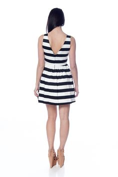 Striped Dress with V Shaped Back - Black & White from Evening & Club at Lucky 21 Lucky 21