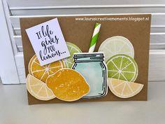 Lemon Zest stamp set, Stampin' Up! - If life gives you lemons . Mason Jar Cards, Fruit Stands, Stampin Up Catalog, Cupcakes, Paper Pumpkin, Halloween Cards, Paper Cards, Recipe Cards, Cool Cards